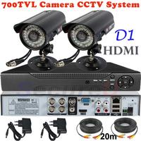 Sale 2ch cctv kit security surveillance alarm system 700TVL thermal video hd camera 4ch D1 DVR digital video recorder HDMI 1080P