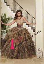 2014 nuevos de la llegada del estampado leopardo Sweetheart mano que rebordea con volantes de organza de quinceañera Vestidos nuevos de la manera vestidos de baile vestidos(China (Mainland))