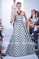 dresses fashion high quality Europe Simple black and white stripe dress women, slash neck maxi dress long