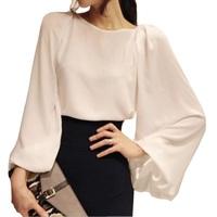 Ladies Chiffon Blouse Shirt Spring 2014 New Summer Loose Long Sleeve Women Sexy Blouses Workwear Female Wholesale Retail GC400