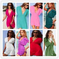 Casual Dress Swimsuit 2014 New Deep V Neck Open-back Beach Wear Cover Up Swimwear Bikini Skirt Dress free Shipping Dyyy-0159