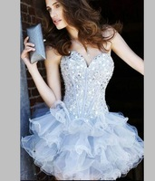 robe de soiree courte  luxury rhinestone V-neck short design fashion the bride evening dress fashion