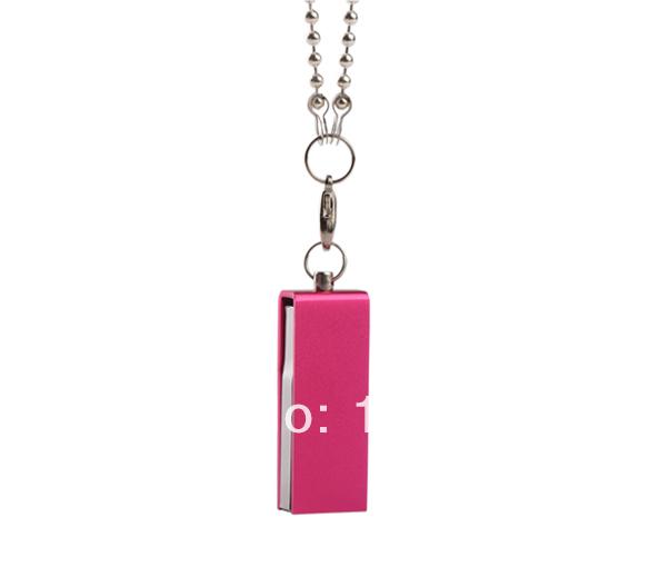 S16 Free shipping 2014 Metal Mini waterproof rotary small Pink excellent 4GB 8GB 16GB usb flash drive memory card car key Gift(China (Mainland))