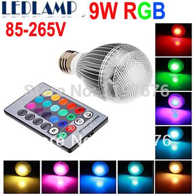 Envío gratis 2 pcs/lote e27 rgb led lámpara de 9w ac110v 220v 85-265v lámpara led bombilla con mando a distancia de control de color de múltiples led de iluminación