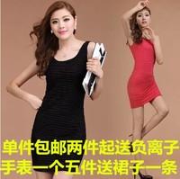 2014 spring elastic sleeveless tank dress slim hip slim one-piece dress skirt step elastic short skirt
