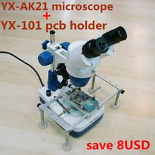Stereo 20x-40x binocular microscópio para telefone celular Repair celular com superior e inferior LED YAXUN AK21 com PCB STAND(China (Mainland))