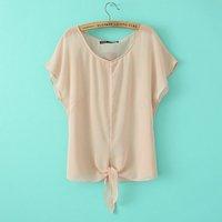 New 2014 women t-shirts woman clothes summer Fashion Fresh wild loose silk chiffon round neck  women's T-shirt Free shipping