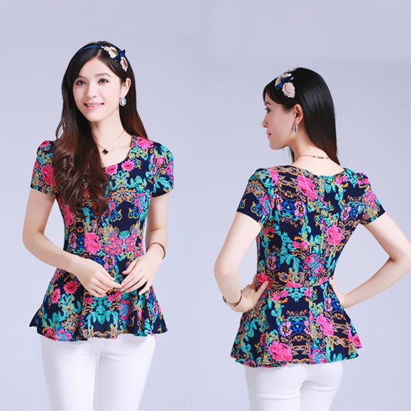 2014 Summer New Women's Fashion Casual Shirt Slim Yards Round Neck Short Sleeve Printed Chiffon Blouse(China (Mainland))