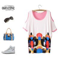 New 2014 women t-shirts woman clothes summer Fashion Hem strapless pullover blending graffiti  women's T-shirt Free shipping