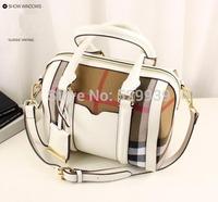 British style b canvas plaid luxury genuine leather bag women messenger bags famous brand small boston pillow tote bolsas