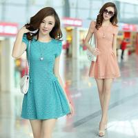 2014 summer slim plus size lace cutout basic short skirt short-sleeve chiffon one-piece dress