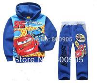 retail Autumn Children Coat  Boys Jacket  cartoon car blue jackets Outerwear Kids hoodies + pants 2 pces set