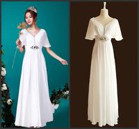 2014 Elegant Petal Sleeve Empire Solid Beading Chiffon Maxi Dress Woman Fashion Slim V-Neck Collar White Evening Dress for Party