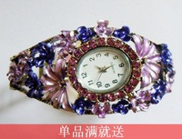 Do not contain electronic National trend alloy rhinestone inlaying fashion bracelet watch female