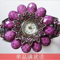 Do not contain electronic Alloy rhinestone inlaying bohemia 2014 summer female watch purple bracelet watch