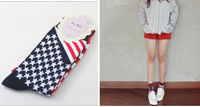 Foreign Trade Navy Style Star&Flag Pattern Crew  Socks For Women ,Mixed Colors Pure Cotton Socks ,10pairs/lot  of Wholesale