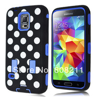 Black and White Polka Dot Hybrid Armor Case Combo for Samsung Galaxy S5 with Bulit in Screen Protector