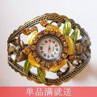 Do not contain electronic Summer 2014 vintage royal alloy flower cutout bracelet watch Women electronic watch