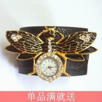 Do not contain electronic Preppy style summer female 2014 leather little bees decoration rhinestone bracelet watch