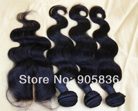 "DHL free shipping!! natural brown body wave  Brazilian virgin hair lace closures  3.5""*4"""