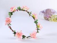 FreeShipping Bride Bohemian Rose Flower Headband Festival Wedding Floral Garland Hair Band Headwear Hair Accessories