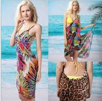 2014 NEW fashion Ice silk deep V printed sunscreen dress beach dress/sarong gallus dress dress for a holiday free shipping