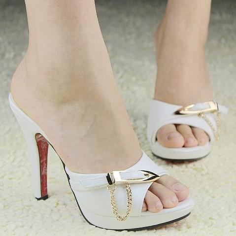 2014 Sommer frauen hohe schuhe sexy kette high heels plattform mode offene spitze hausschuhe frauen dünn heels schuhe