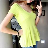Sexy low-cut V-neck slim candy color women's short-sleeve top slim skirt basic shirt t-shirt