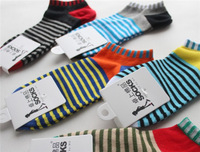 Fashion Korean New Style Striped men socks, Rib-topMixed Colors  men Ankle socks .Free Shipping 24 Hours Delivery. L15-010