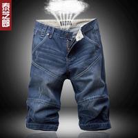 Denim shorts luxury male water wash straight jeans summer denim capris male