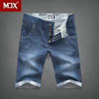 Mjx 100% cotton denim shorts men's clothing male jeans capris knee-length pants straight
