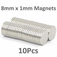 In Stock 10x small thin 8mm dia x 1mm N35 Neodymium disc magnets  craft reborn fridge diy Free Shipping