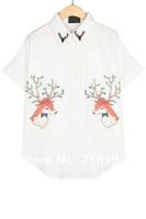 Cheap 2014 Deer Graphic Chiffon Shirt  T shirt   Free Shipping