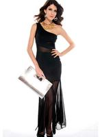 free shipping brand new women evening dress black one shoulder fishtail skirt  sexy black women party dress 2697