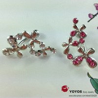 wholesale fashion body piercing flower model belly piercing navel piercing with crystal bell button rings stainless steel