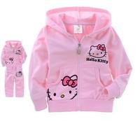 2014 new hello kitty Girls turtles pattern hoodie + pants suit children cartoon suits spring autumn kids clothes set retail