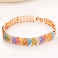 Fashion multicolour - eye leaf bracelet female all-match k gold rose bracelet hand ring
