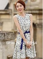 New Novelty Women's Slim Summer Dress Sleeveless Flower Dot With Belt Long Casual Dress For Girls Women Clothing Dresses