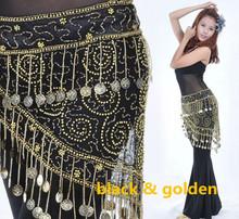 150pcs moedas douradas Dança do Ventre Crocheted Hip Scarf Belt lantejoulas 2 cores(China (Mainland))