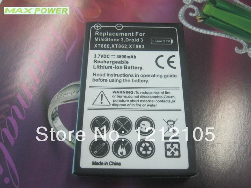 Free shipping for Motorola MileStone Driox3 XT862/XT863/XT860/XT883 black cover extended battery 100pc/lot(China (Mainland))