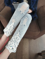 2014 summer trousers diamond embroidery lace trousers lace hole denim pencil pants