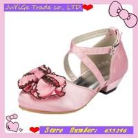 2014 New Satin Banquet Girls Sandals Round head  Princess Children's party Flower Sandals  Girls single shoes with Satin Flower