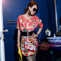 2014 baroque print fashion batwing sleeve loose one-piece dress with belt