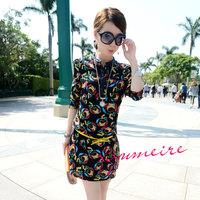 2014 wind fashion print loose chiffon one-piece dress with belt