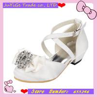2014 New Satin Banquet Girls Sandals Round head  Princess Children's party Flower Sandals Girls single shoes with Chain Flower