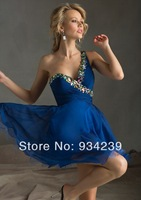 One Shoulder Short Blue Beading Chiffon A Line Cocktail Dress