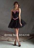 Sweetheart Mini Black Beading Organza A Line Cocktail Dress
