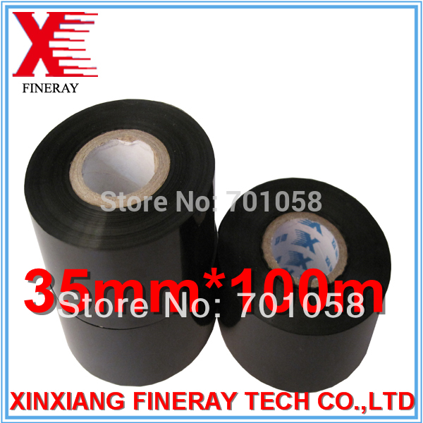35mm*100m black color hot coding foil/time and date stamp printing ink roll on Plastic Packaging bags(China (Mainland))
