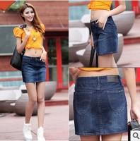 2014 europe fashion women elegant slim waist dark blue denim skirts all match middle length denim skirt plus size 32