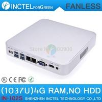 media center pc Intel Celeron C1037U aluminum fanless dual core living room pc with 4G RAM Only USB 3.0 HDMI 2 RJ45 TF SD Card